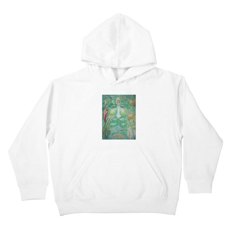 Garden Green Man with Peppers and Pumpkins Kids Pullover Hoody by Yodagoddess' Artist Shop