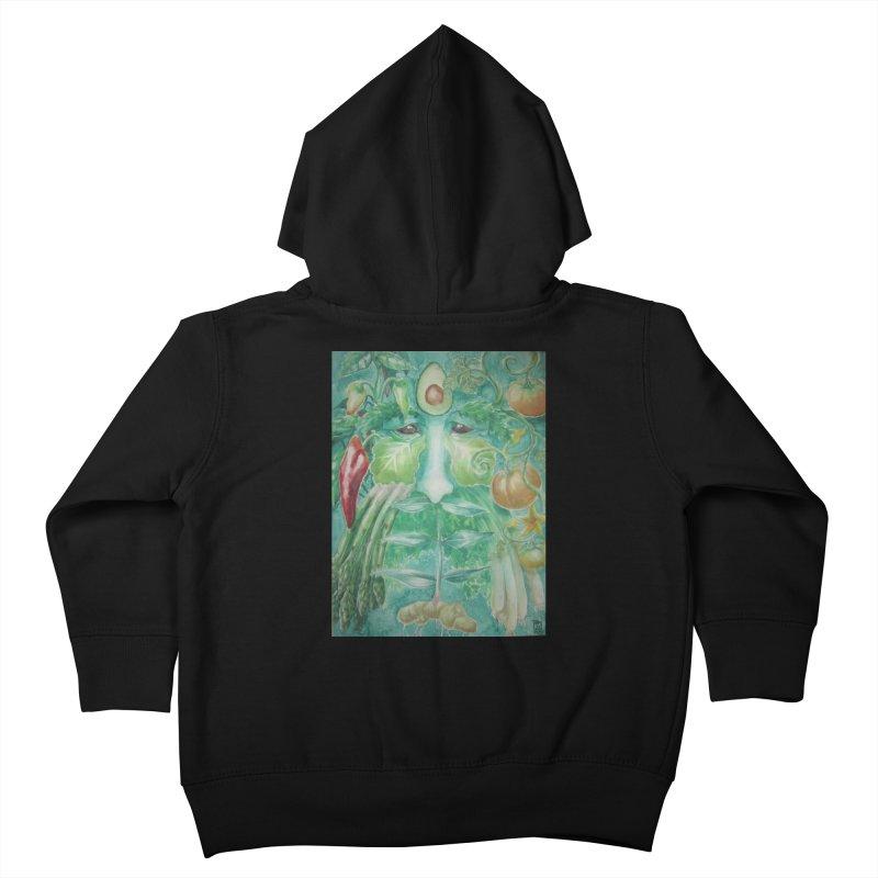 Garden Green Man with Peppers and Pumpkins Kids Toddler Zip-Up Hoody by Yodagoddess' Artist Shop