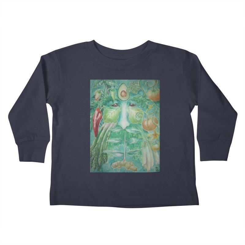 Garden Green Man with Peppers and Pumpkins Kids Toddler Longsleeve T-Shirt by Yodagoddess' Artist Shop