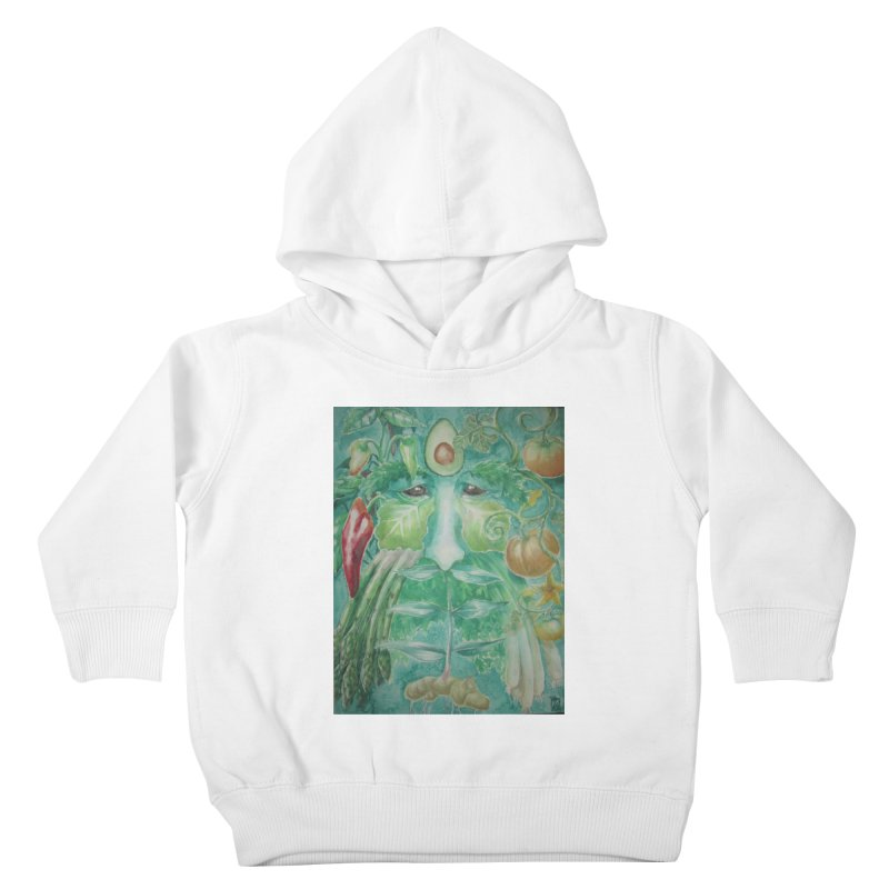 Garden Green Man with Peppers and Pumpkins Kids Toddler Pullover Hoody by Yodagoddess' Artist Shop