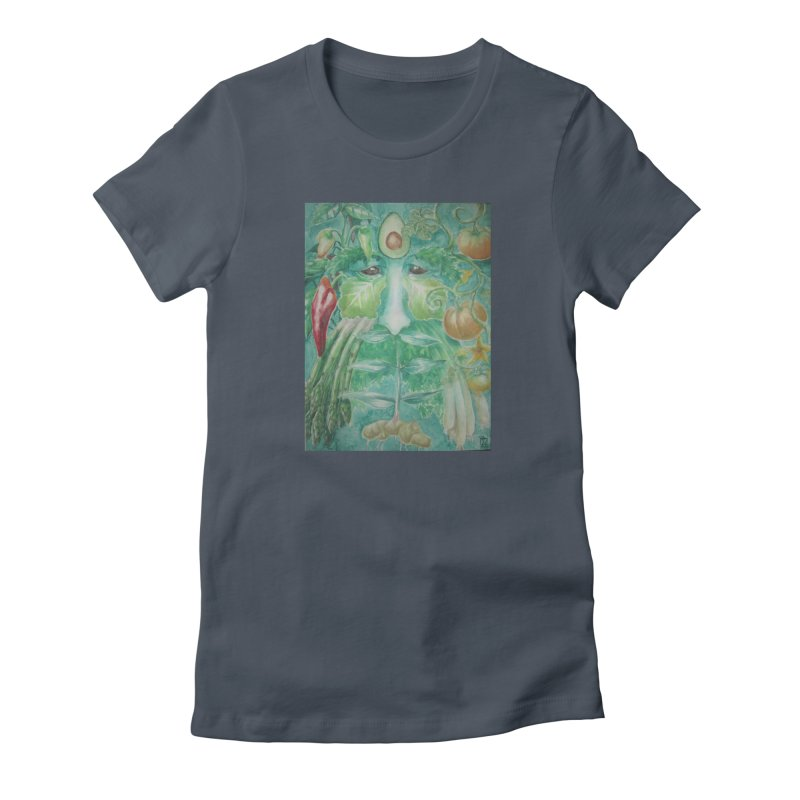Garden Green Man with Peppers and Pumpkins Women's French Terry Zip-Up Hoody by Yodagoddess' Artist Shop