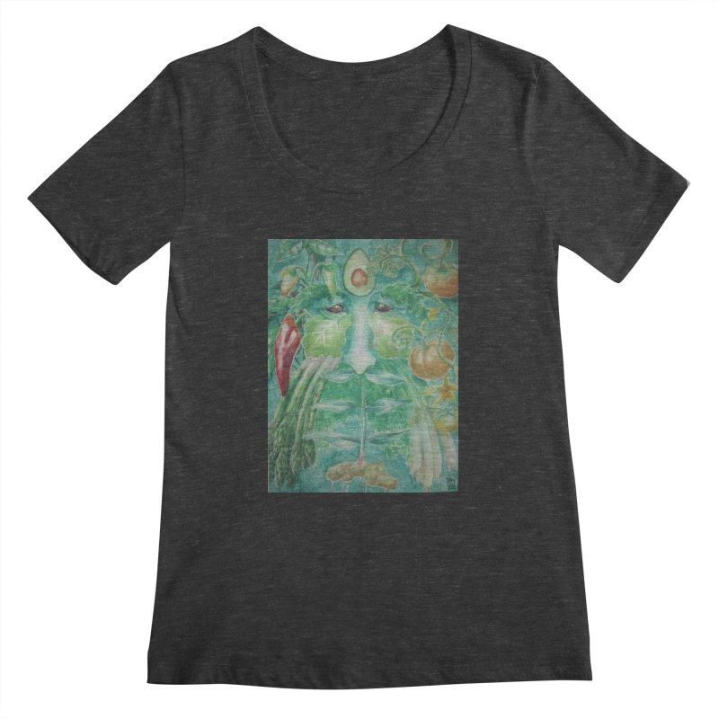 Garden Green Man with Peppers and Pumpkins Women's Scoopneck by Yodagoddess' Artist Shop