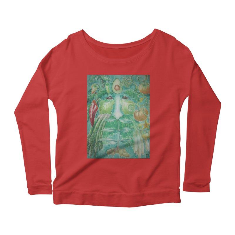 Garden Green Man with Peppers and Pumpkins Women's Longsleeve Scoopneck  by Yodagoddess' Artist Shop