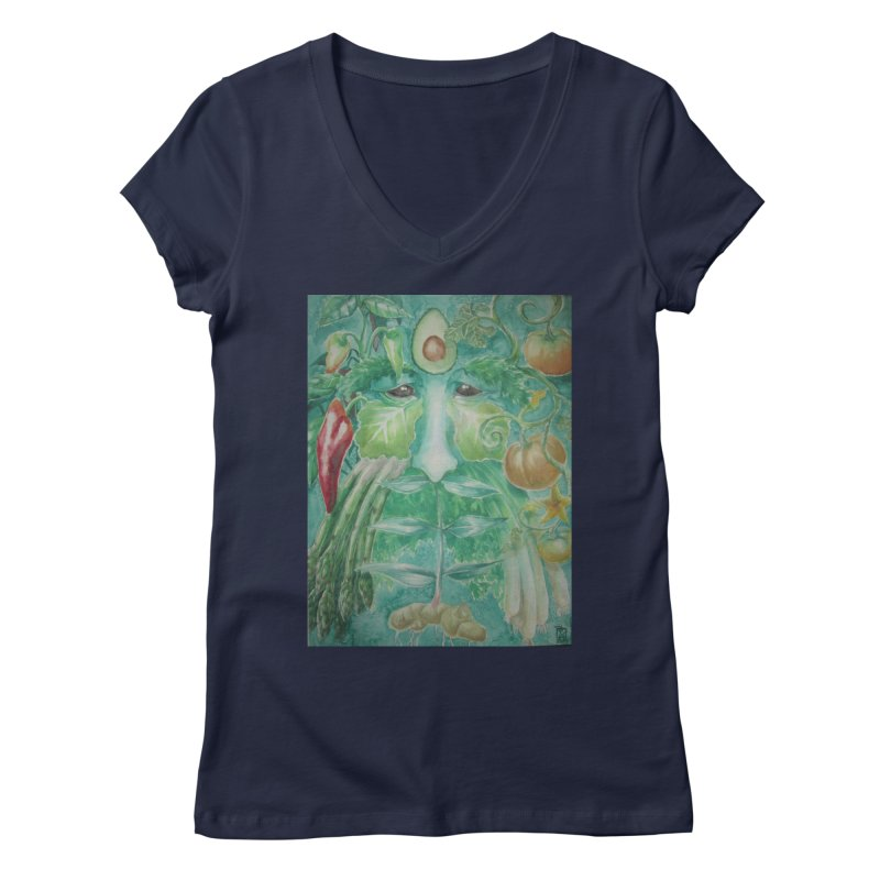 Garden Green Man with Peppers and Pumpkins Women's V-Neck by Yodagoddess' Artist Shop