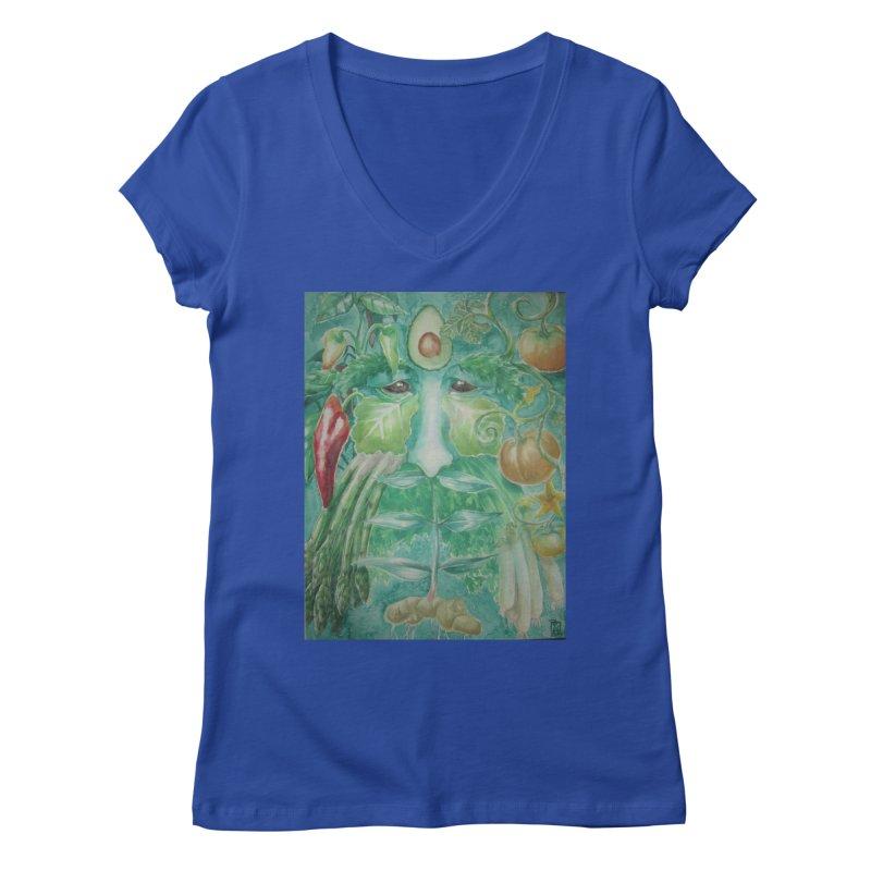 Garden Green Man with Peppers and Pumpkins Women's V-Neck by Yodagoddess' Artist Shop
