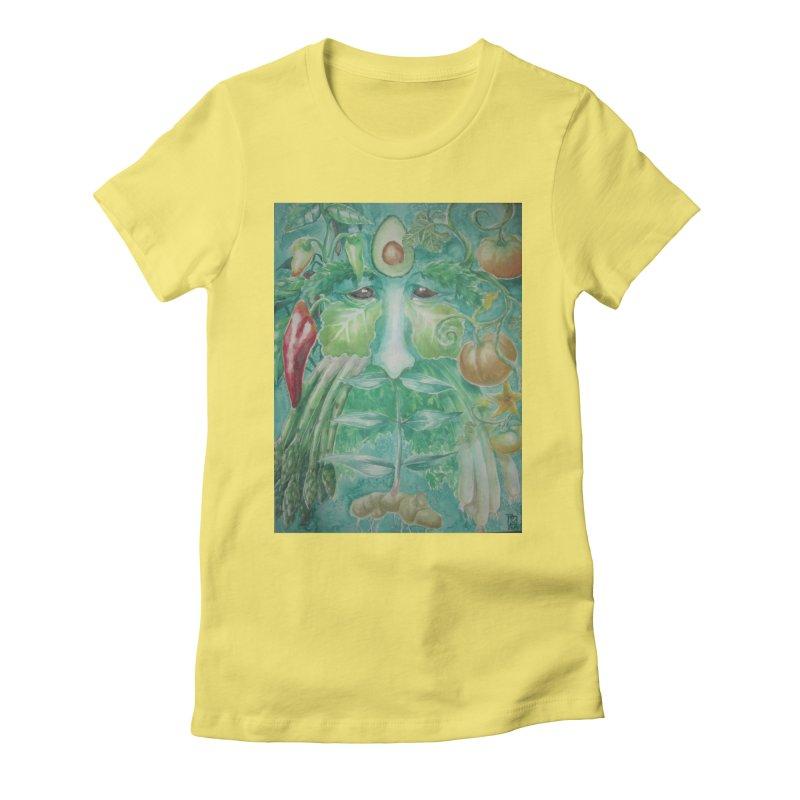 Garden Green Man with Peppers and Pumpkins Women's Fitted T-Shirt by Yodagoddess' Artist Shop