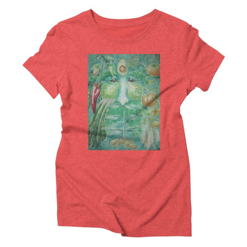 Garden Green Man with Peppers and Pumpkins Women's Triblend T-Shirt by Yodagoddess' Artist Shop