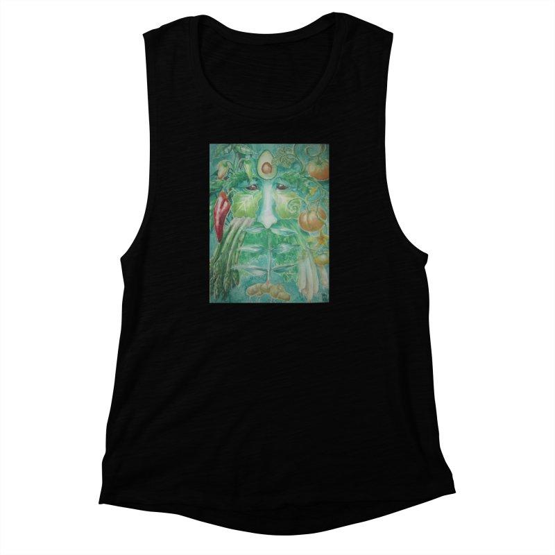 Garden Green Man with Peppers and Pumpkins Women's Muscle Tank by Yodagoddess' Artist Shop