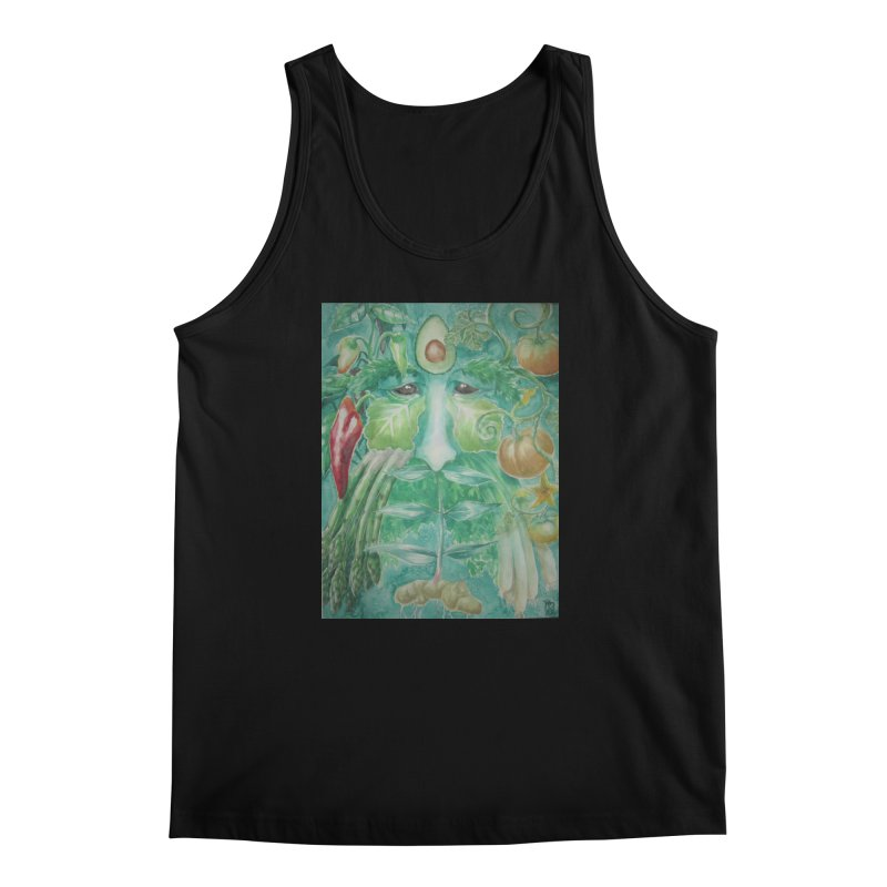 Garden Green Man with Peppers and Pumpkins Men's Tank by Yodagoddess' Artist Shop