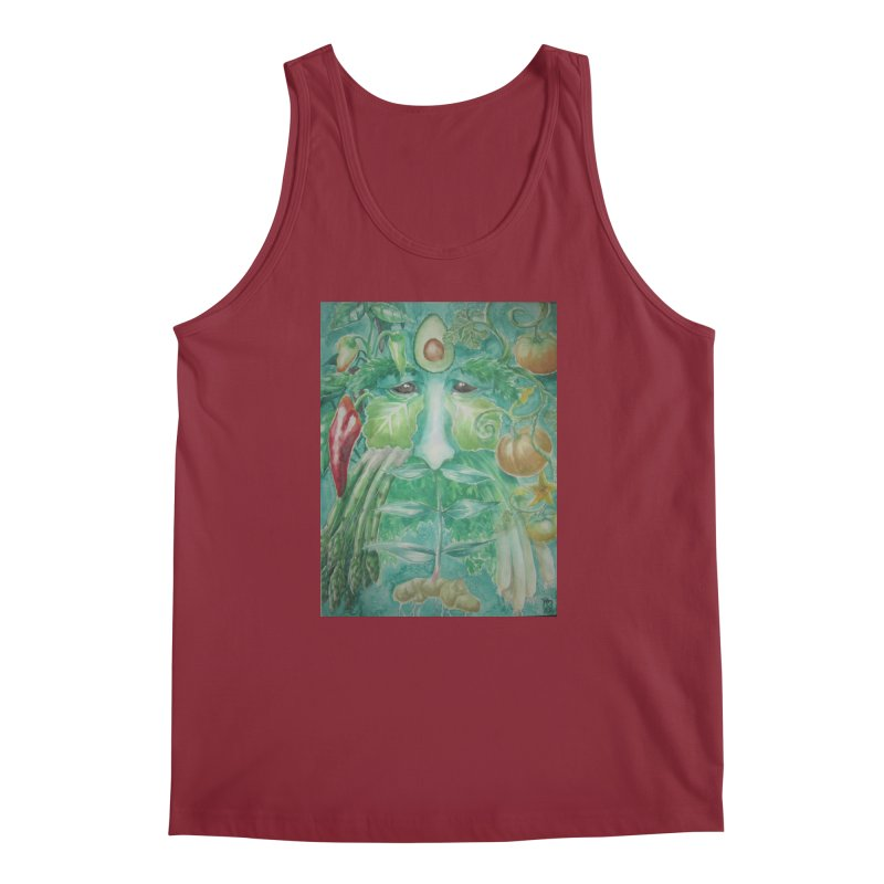 Garden Green Man with Peppers and Pumpkins Men's Tank by Yodagoddess' Artist Shop
