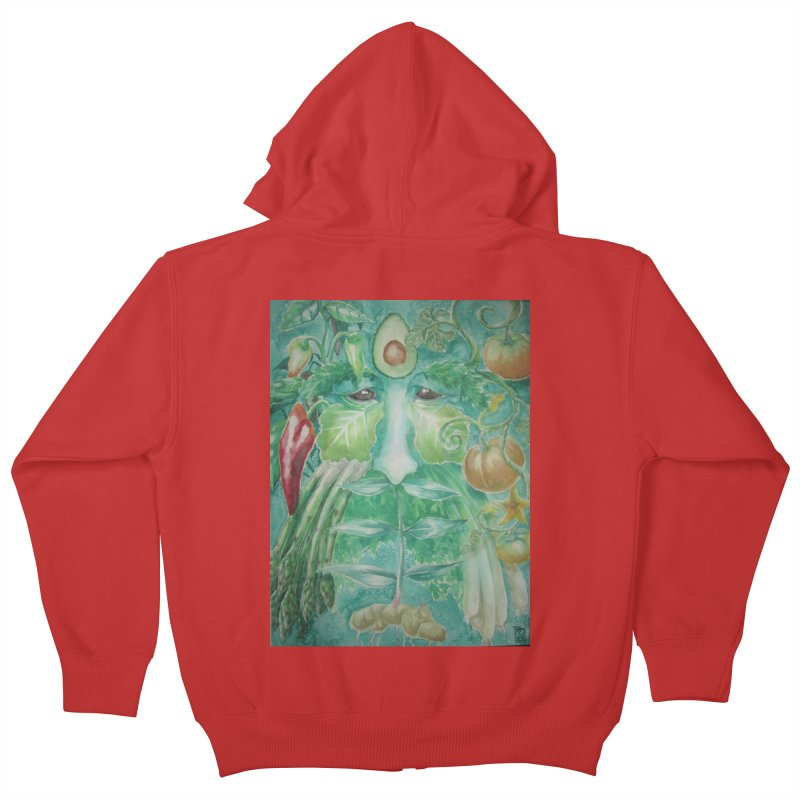 Garden Green Man with Peppers and Pumpkins Kids Zip-Up Hoody by Yodagoddess' Artist Shop