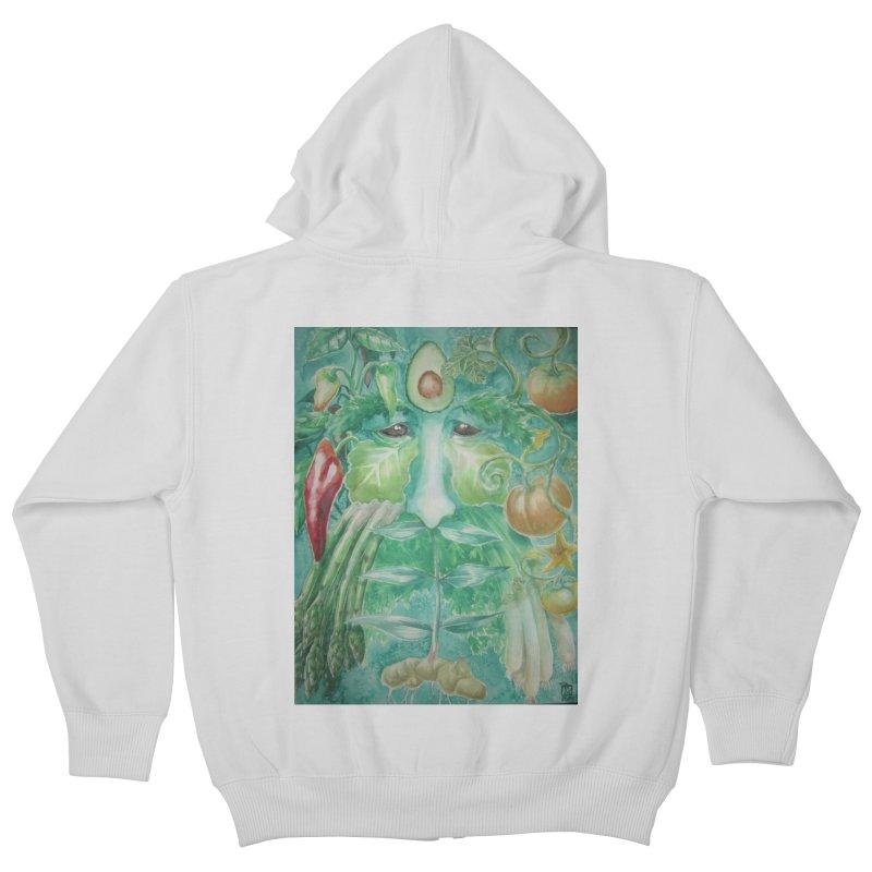 Garden Green Man with Peppers and Pumpkins Kids Zip-Up Hoody by Yodagoddess' Artist Shop