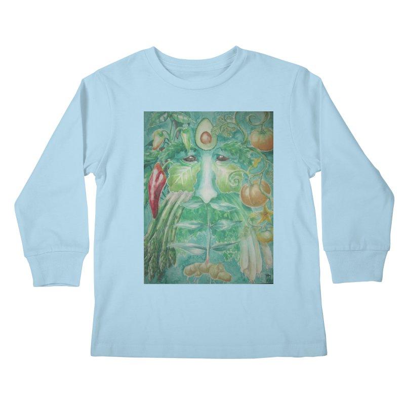 Garden Green Man with Peppers and Pumpkins Kids Longsleeve T-Shirt by Yodagoddess' Artist Shop