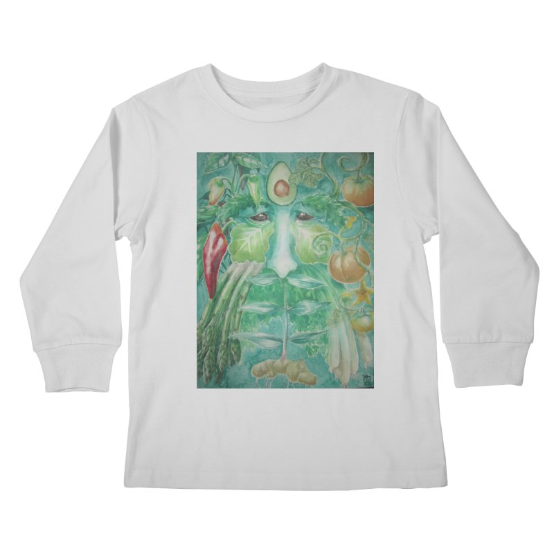 Garden Green Man with Peppers and Pumpkins Kids Longsleeve T-Shirt by Yodagoddess' Artist Shop