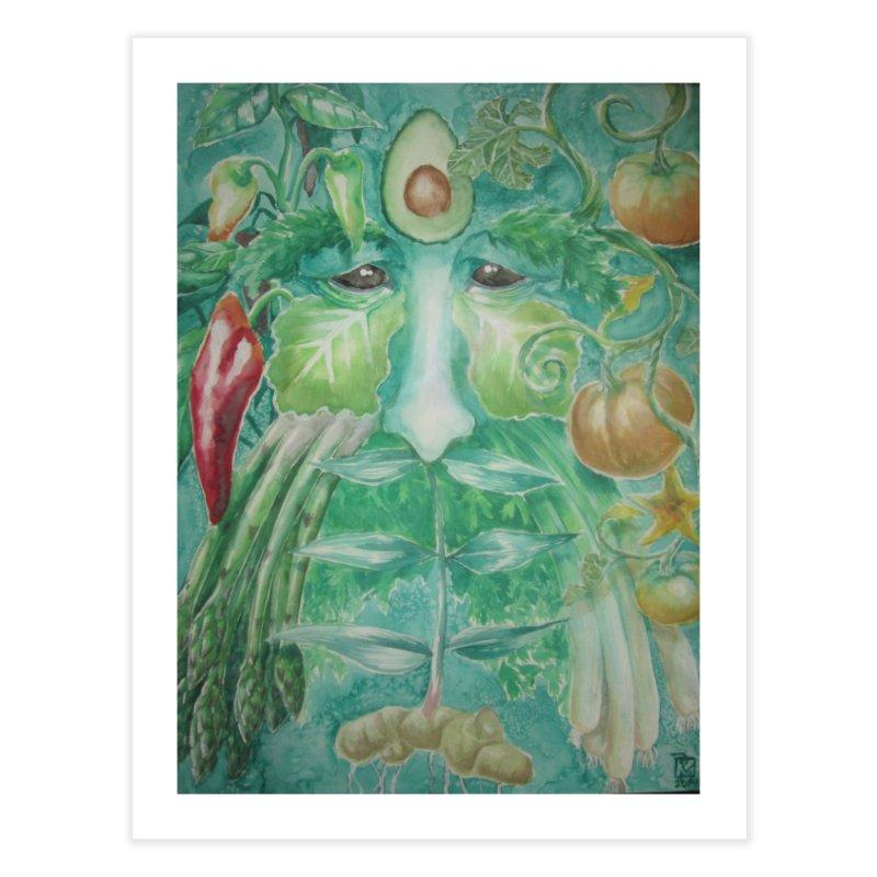 Garden Green Man with Peppers and Pumpkins Home Fine Art Print by Yodagoddess' Artist Shop