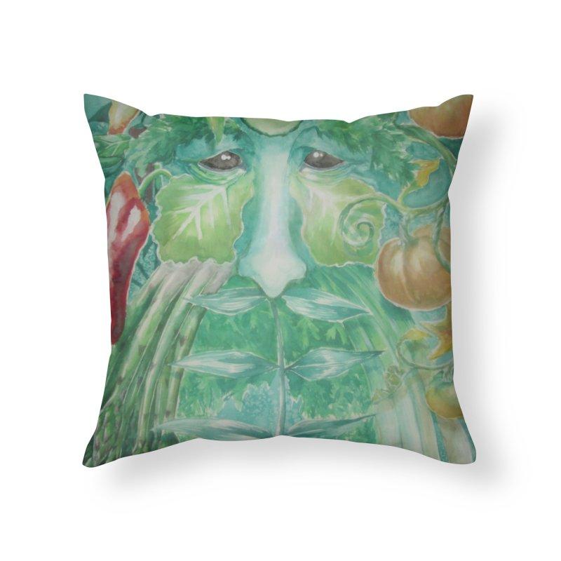 Garden Green Man with Peppers and Pumpkins Home Throw Pillow by Yodagoddess' Artist Shop