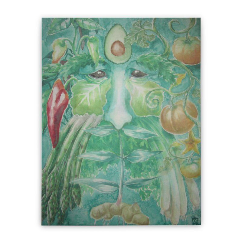 Garden Green Man with Peppers and Pumpkins Home Stretched Canvas by Yodagoddess' Artist Shop