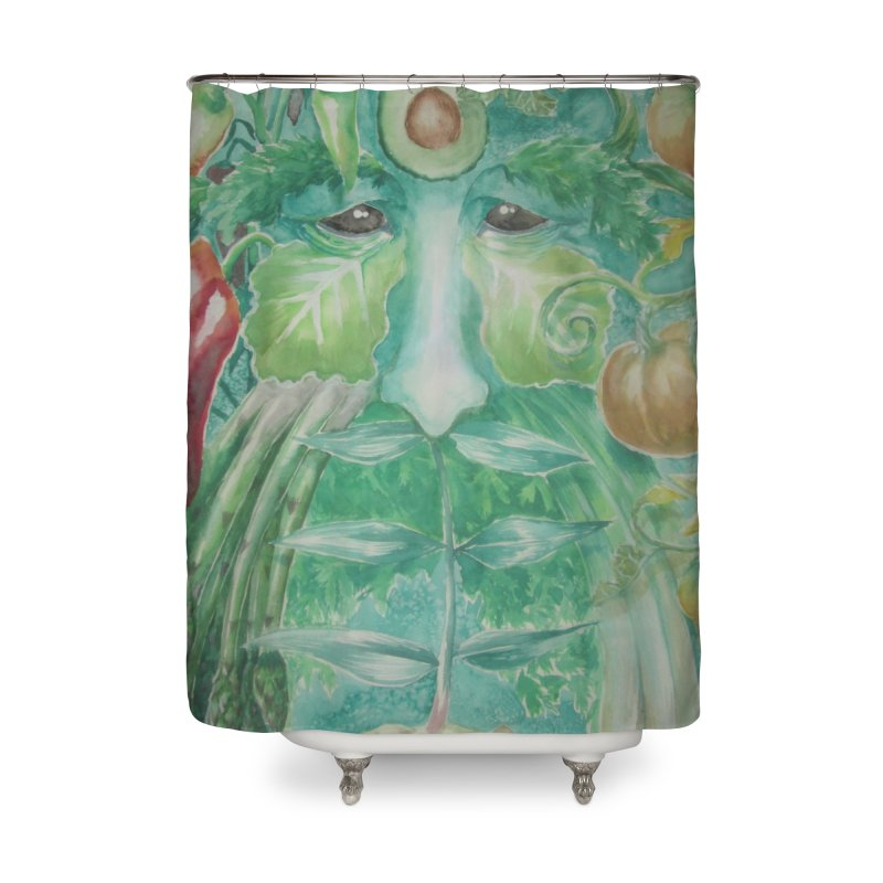 Garden Green Man with Peppers and Pumpkins Home Shower Curtain by Yodagoddess' Artist Shop