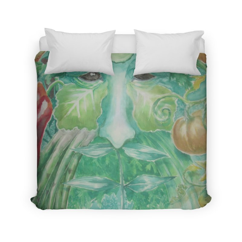 Garden Green Man with Peppers and Pumpkins Home Duvet by Yodagoddess' Artist Shop