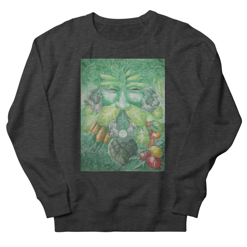 Garden Green Man with Kale and Artichoke Men's Sweatshirt by Yodagoddess' Artist Shop