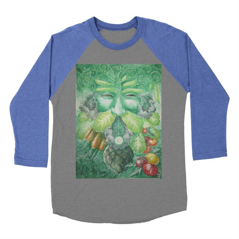Garden Green Man with Kale and Artichoke Women's Baseball Triblend T-Shirt by Yodagoddess' Artist Shop