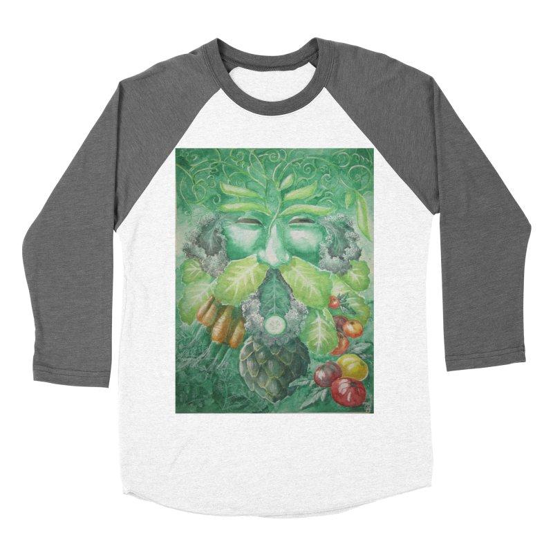 Garden Green Man with Kale and Artichoke Men's Baseball Triblend T-Shirt by Yodagoddess' Artist Shop