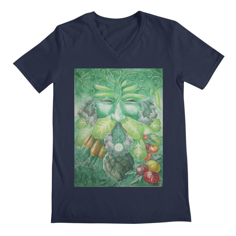 Garden Green Man with Kale and Artichoke Men's V-Neck by Yodagoddess' Artist Shop