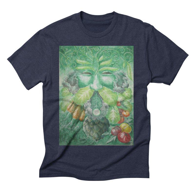 Garden Green Man with Kale and Artichoke Men's Triblend T-shirt by Yodagoddess' Artist Shop