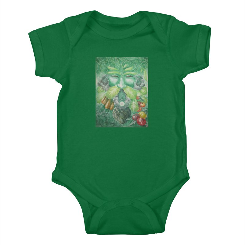 Garden Green Man with Kale and Artichoke Kids Baby Bodysuit by Yodagoddess' Artist Shop