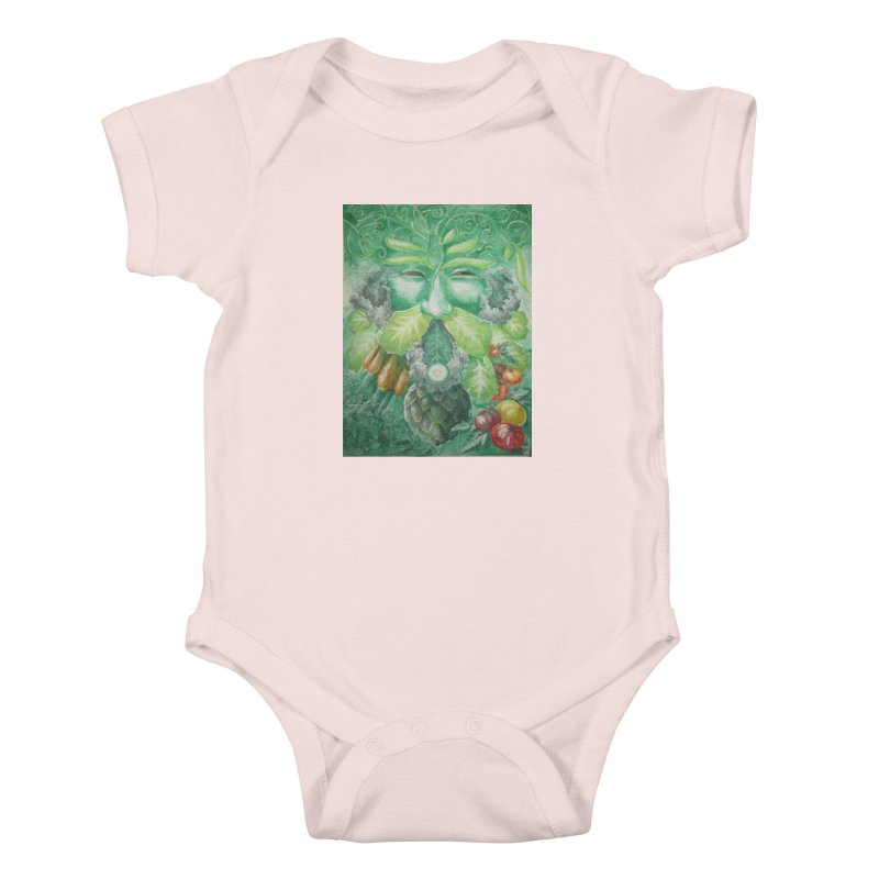 Garden Green Man with Kale and Artichoke Kids Baby Bodysuit by Yodagoddess' Artist Shop