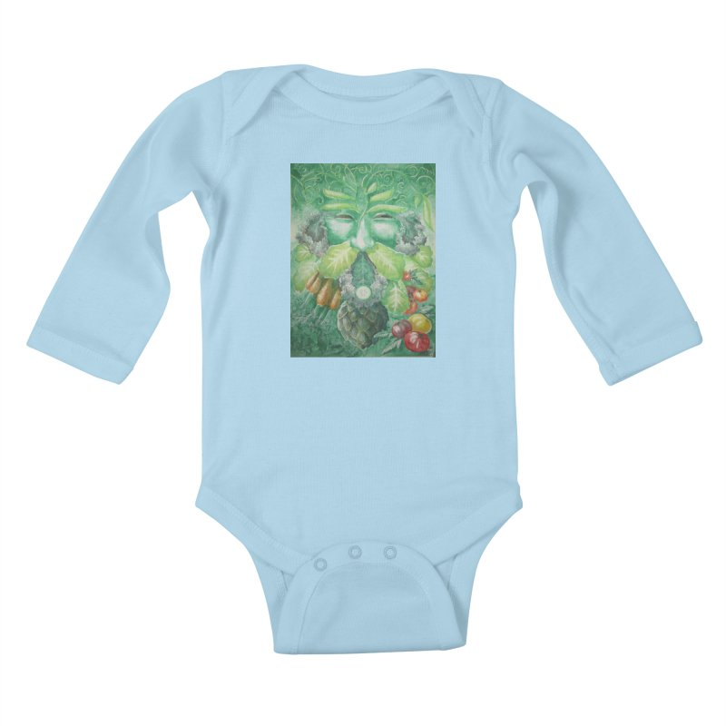 Garden Green Man with Kale and Artichoke Kids Baby Longsleeve Bodysuit by Yodagoddess' Artist Shop