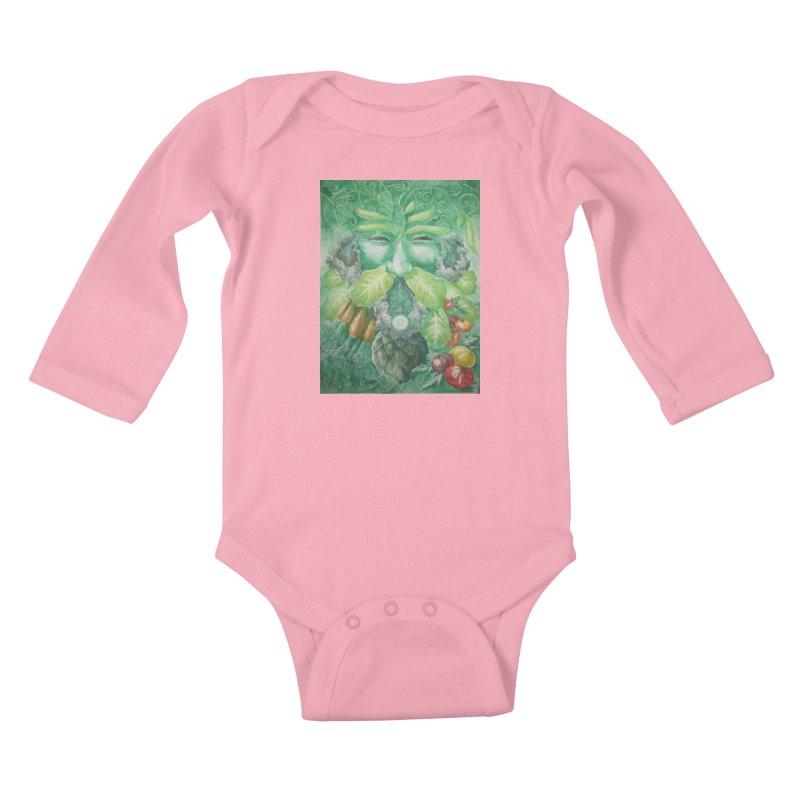 Garden Green Man with Kale and Artichoke Kids Baby Longsleeve Bodysuit by Yodagoddess' Artist Shop