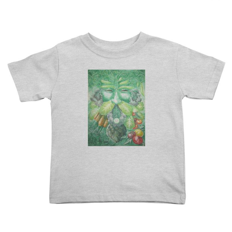 Garden Green Man with Kale and Artichoke Kids Toddler T-Shirt by Yodagoddess' Artist Shop