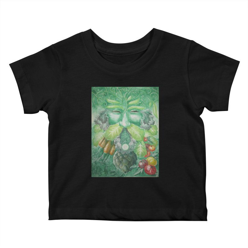 Garden Green Man with Kale and Artichoke Kids Baby T-Shirt by Yodagoddess' Artist Shop