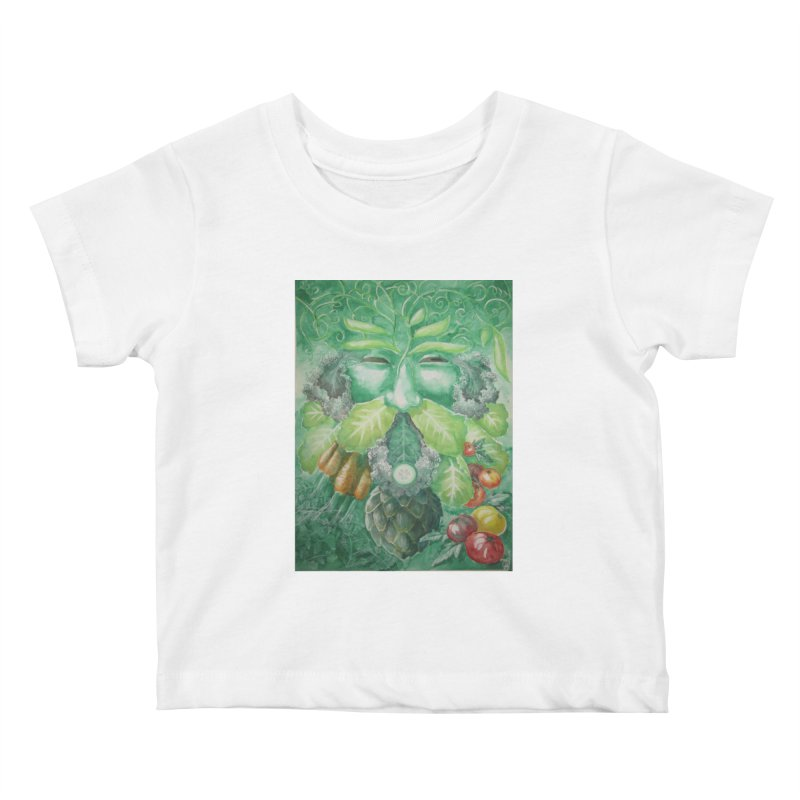 Garden Green Man with Kale and Artichoke Kids Baby T-Shirt by Yodagoddess' Artist Shop