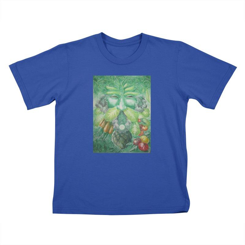 Garden Green Man with Kale and Artichoke Kids T-Shirt by Yodagoddess' Artist Shop