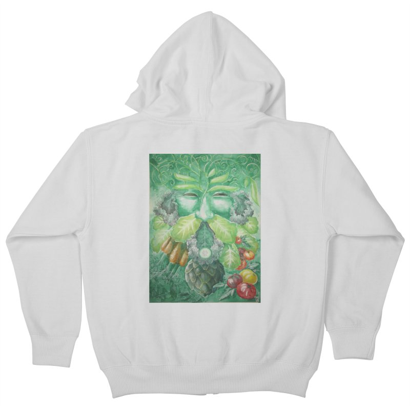Garden Green Man with Kale and Artichoke Kids Zip-Up Hoody by Yodagoddess' Artist Shop