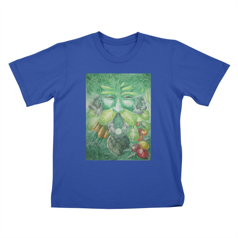 Garden Green Man with Kale and Artichoke Kids T-Shirt by Yodagoddess' Artist Shop