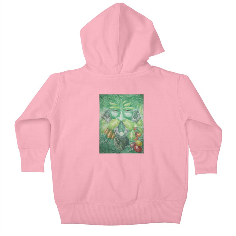 Garden Green Man with Kale and Artichoke Kids Baby Zip-Up Hoody by Yodagoddess' Artist Shop