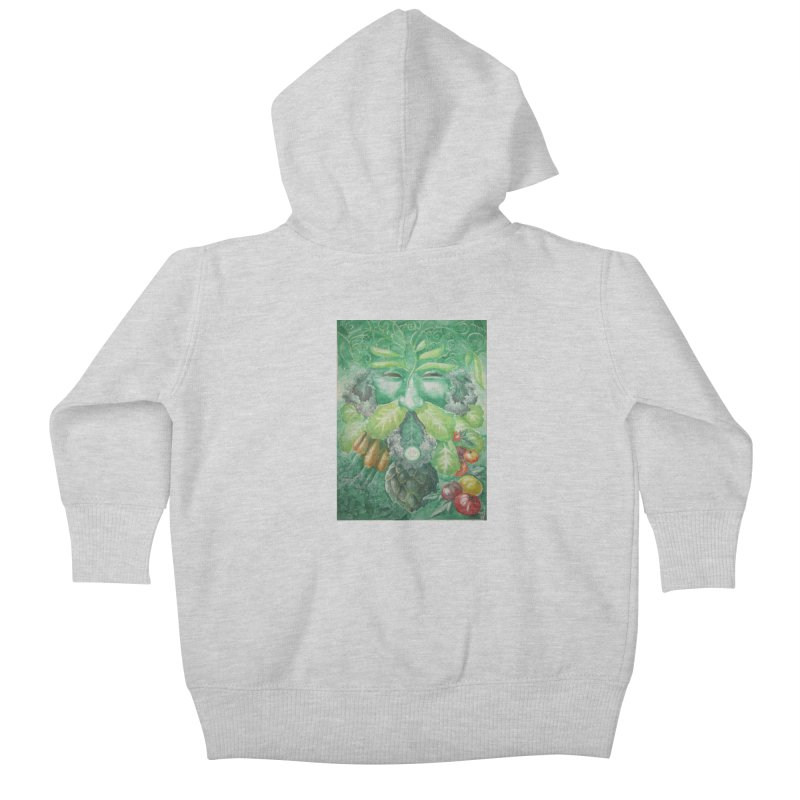 Garden Green Man with Kale and Artichoke Kids Baby Zip-Up Hoody by Yodagoddess' Artist Shop