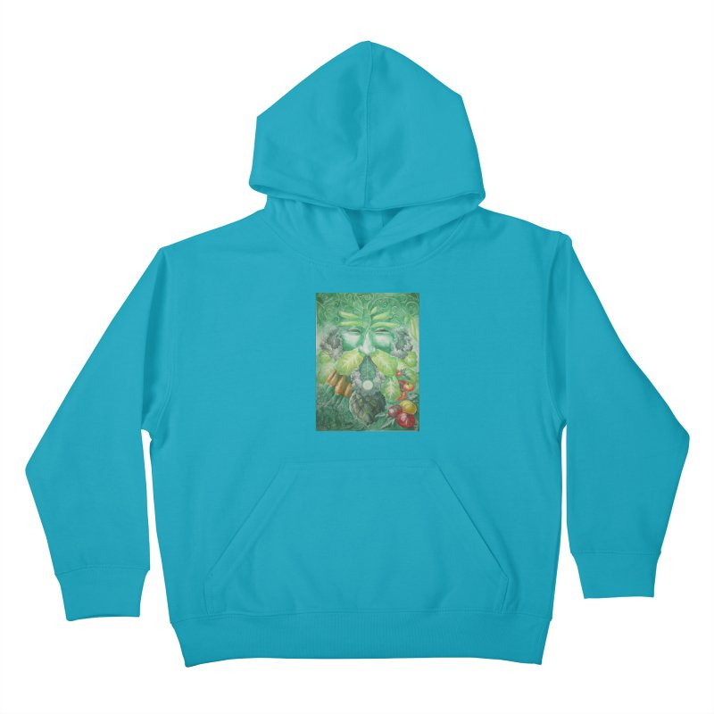 Garden Green Man with Kale and Artichoke Kids Pullover Hoody by Yodagoddess' Artist Shop