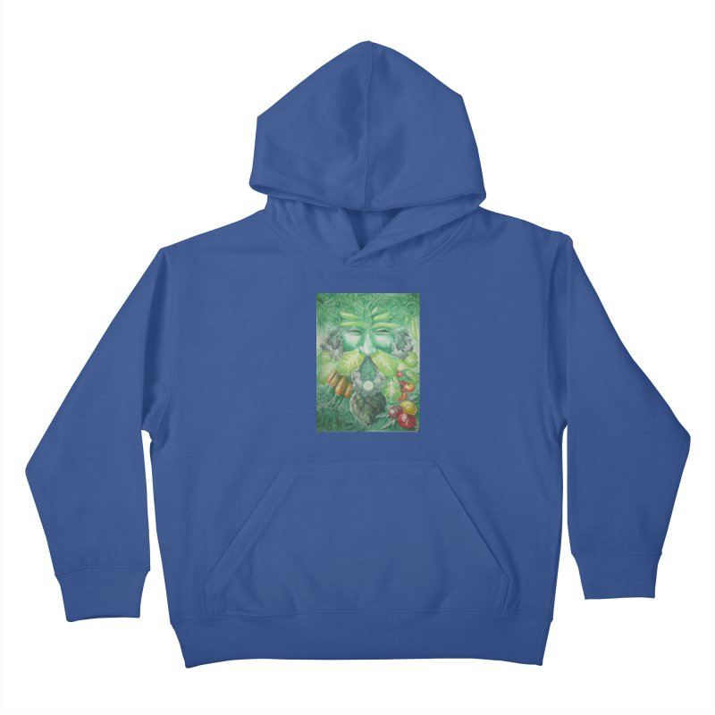 Garden Green Man with Kale and Artichoke Kids Pullover Hoody by Yodagoddess' Artist Shop