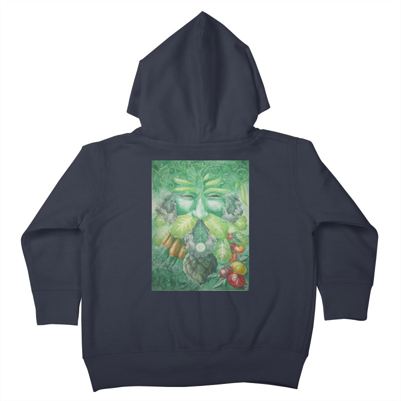 Garden Green Man with Kale and Artichoke Kids Toddler Zip-Up Hoody by Yodagoddess' Artist Shop