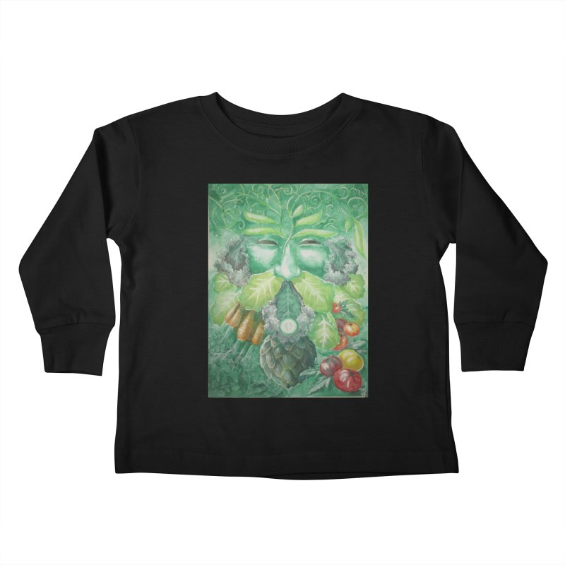 Garden Green Man with Kale and Artichoke Kids Toddler Longsleeve T-Shirt by Yodagoddess' Artist Shop