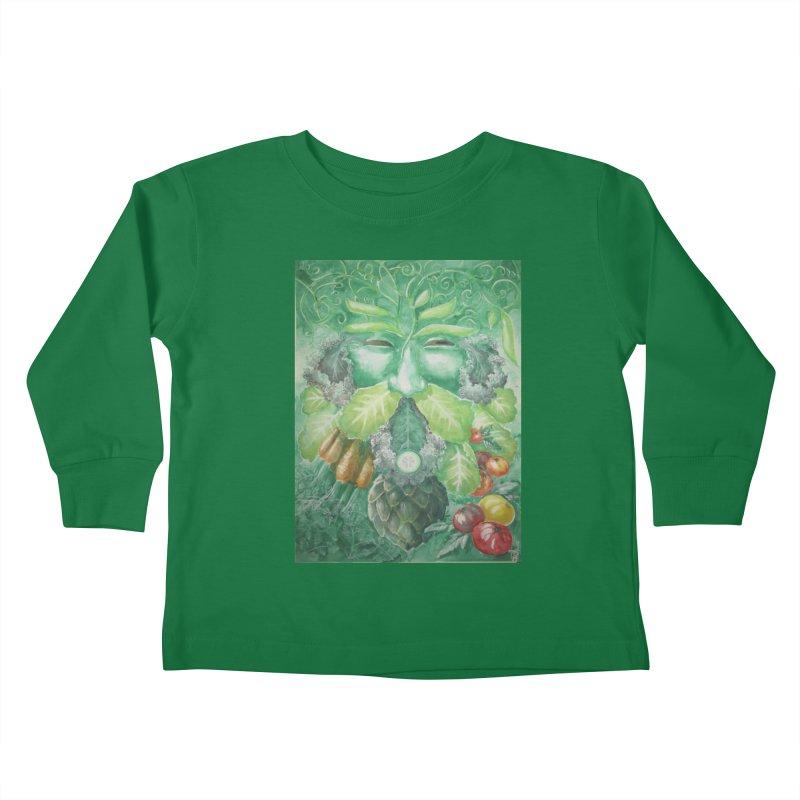 Garden Green Man with Kale and Artichoke Kids Toddler Longsleeve T-Shirt by Yodagoddess' Artist Shop