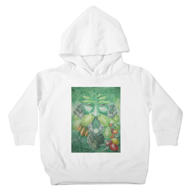 Garden Green Man with Kale and Artichoke Kids Toddler Pullover Hoody by Yodagoddess' Artist Shop