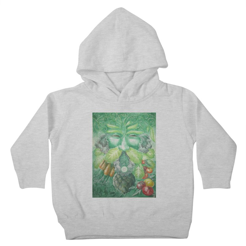 Garden Green Man with Kale and Artichoke Kids Toddler Pullover Hoody by Yodagoddess' Artist Shop