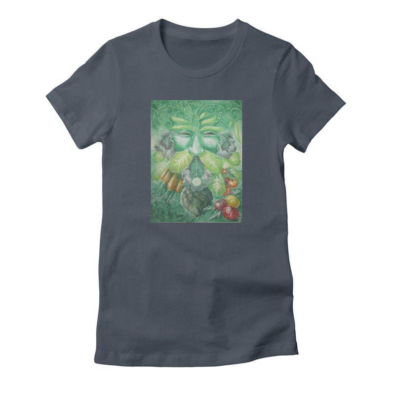 Garden Green Man with Kale and Artichoke Women's French Terry Zip-Up Hoody by Yodagoddess' Artist Shop