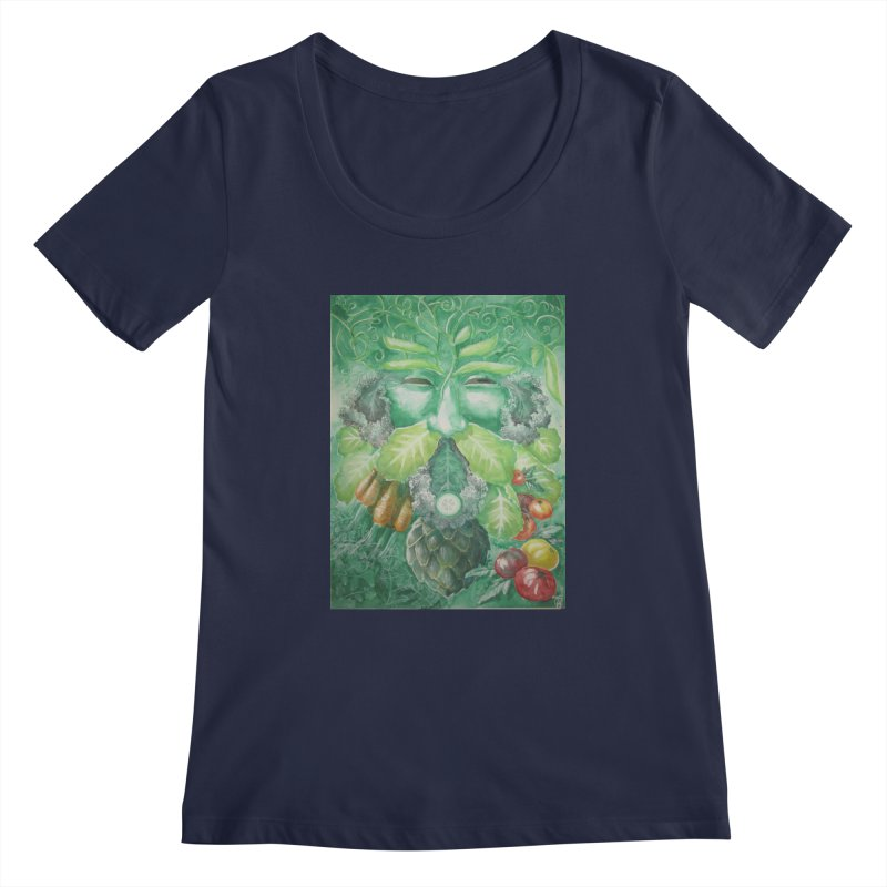 Garden Green Man with Kale and Artichoke Women's Scoopneck by Yodagoddess' Artist Shop