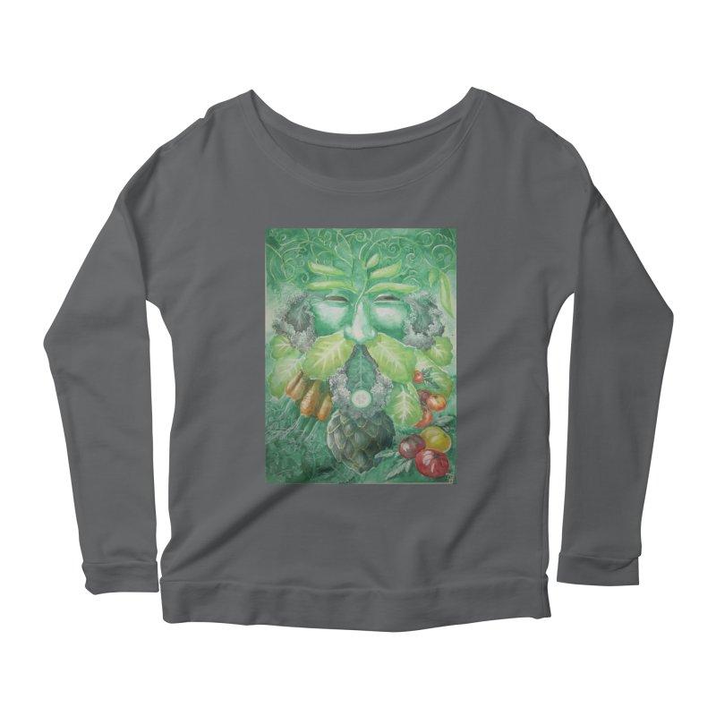 Garden Green Man with Kale and Artichoke Women's Longsleeve Scoopneck  by Yodagoddess' Artist Shop